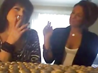 juvenile cutie smokes cigarettes with mommy