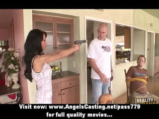 wicked brunette hair d like to fuck with a gun