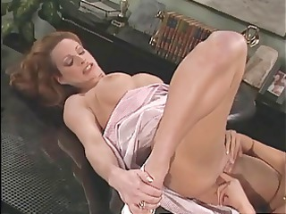 sexy oriental doctor rubs her patients pussy on