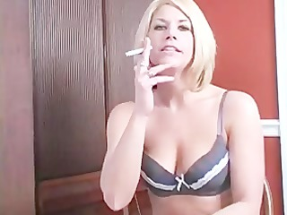 sexy golden-haired smoking jerk off tease
