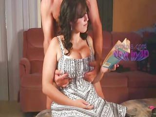 joy with milk sacks of busty wife reading
