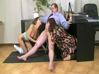 older couple with a busty slut at office