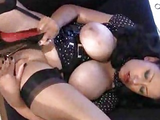 huge breasts on older in stockings stroking pussy
