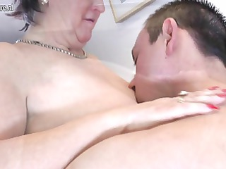 old grandmothr copulates and sucks her toyboy