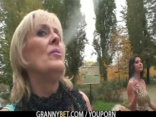 granny jumps on his large meat