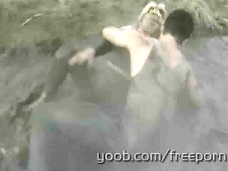 granny desires to take mud wrestling to a fresh