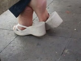 mature candid shoeplay