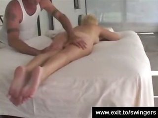 mom tracy receives massage with carpet munch end