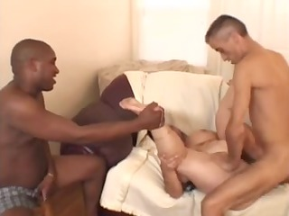 large glamorous woman-granny takes fellows and