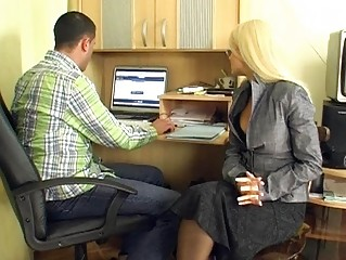 mature blond secretary gives group blowjobs