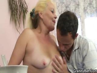 blond granny gets her shaggy love tunnel slammed