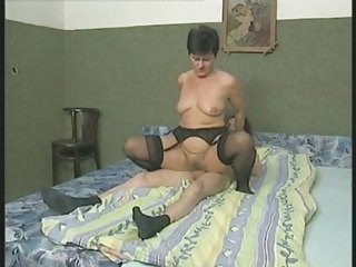 shaggy granny in nylons copulates the lad