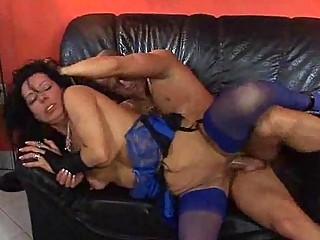 milf in blue stockings has some hardcore sex on