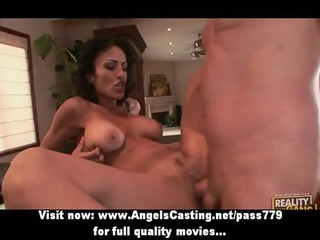 busty brunette hair d like to fuck does blowjob
