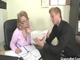 sexy office sex with aged floozy
