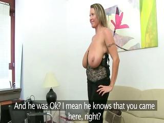 older woman fucking on leather ottoman