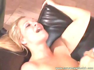 hubby watched his wife had her sexy shaved twat
