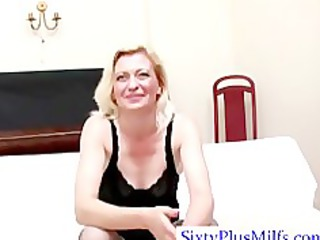 blond hot mature engulfing two dicks