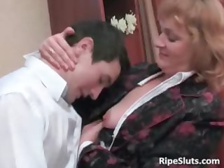 concupiscent older brunette hair gets her moist