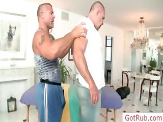 muscled aged dude receives massaged