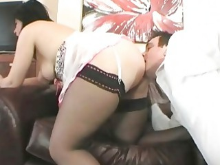 spruce english brunette hair milf drilled on the