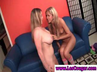 breasty lesbian milf gets her pussy licked by a