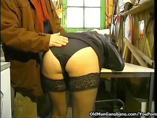 blindfolded fuck in a workshop