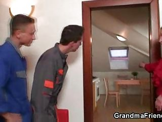 repairmen group-sex breasty grandma from both