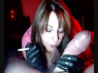 sexy mother i in gloves smoking jerking and