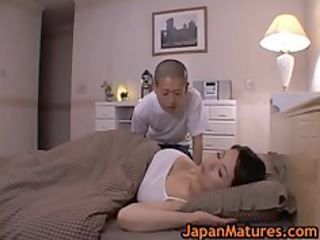 mature bigtit miki sato masturbating on bed 1 by
