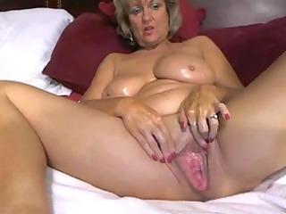 astounding large tited mamma masturbates