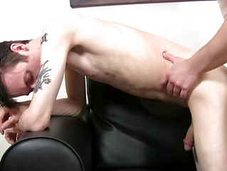 pale slender and tattooed twink acquires slammed