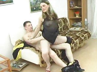 mature honey takes corpulent juvenile cock into