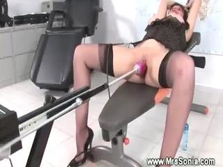 mature brit enjoying fuck machine