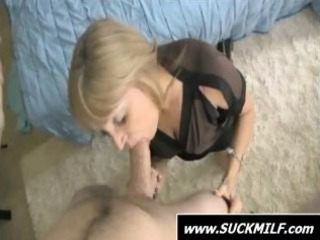 golden-haired mamma is on her knees in pov style