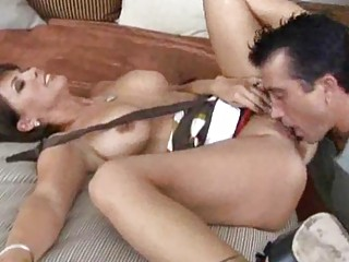 busty brunette hair milf sucks jock and acquires