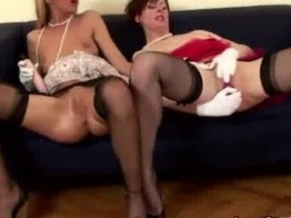 aged european lesbian in stockings puts sex toy