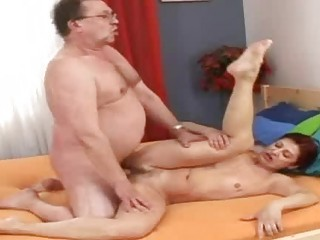 excited old grandmommy receives recent semen