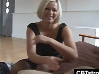 blond mother i slaps dick harsh during handjob