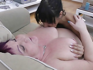 chubby granny fucks 10 juvenile lesbos