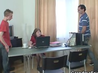 old office doxy takes two dicks