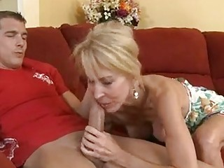 hot aged erica lauren fills her throat with a