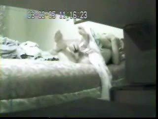 mummy masturbating in bed. hidden webcam