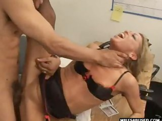 golden-haired milf wearing high heels does anal