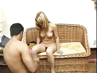 husband watches his hirsute mask wife drilled by