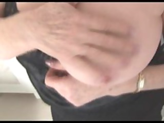 breasty aged granny shows off unshaved muff