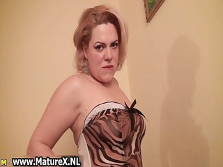 horny breasty mature woman stripping part1