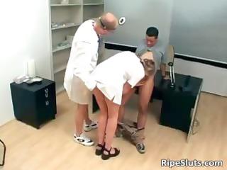 slutty aged golden-haired nurse receives moist