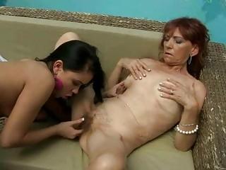 shaggy granny enjoys lesbo sex with legal age