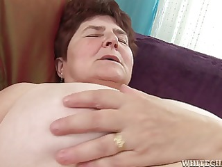 slutty granny acquires her hairy cum-hole soaked